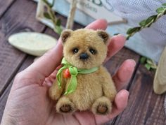Artist teddy Bear Bebek, OOAK teddy bear, sweet teddy bear, mini teddy bear, friend for doll, stuffed bear, collectable teddy, little teddy