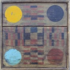 19th Century Hand-Painted Wood Parcheesi Game Board - US 19th century - 19th century painted parcheesi gameboard. Acquired from Patty Gagarin Antiques, 1980. - Sultana Antiques