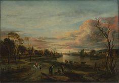 Aert van der Neer - Landschap bij zonsondergang (1650)