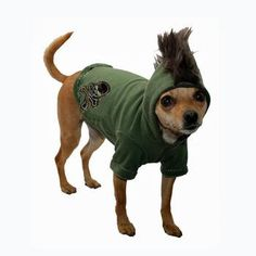 Everyone wants to have a Mohawk sometime to show off their fun side, now pets can too! - Mohawk on hoodie. - Pull-over style. - Skull and crossbones on bottom. - Made in the U.S.A. Why We Love It: Dogs with a punk side will love this fun easy to wear Skull Mohawk Dog Hoodie by Hip Doggie. Brown terry lined sweatshirt with pink faux fur mohawk & pink girl skull embroidered patch. Made In USA! Measuring Guide: Back: Measure length of pet's back from the base of the neck to the base of the…