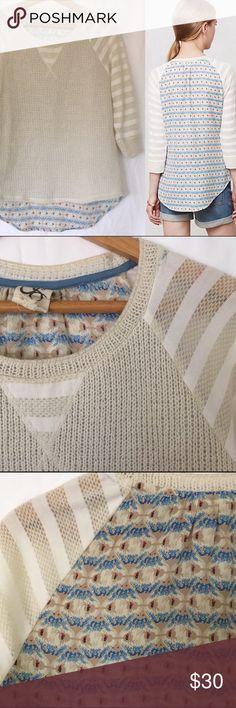Anthro One September Milla Mixed Media Pullover Like new. Super soft. Striped knit front.cheat is 17. Length is 24. Poly and cotton blend. Anthropologie Tops