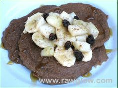 Raw Food Pancakes – Raw Pancake Recipe  http://rawglow.com/blog/2013/12/30/raw-food-pancakes-raw-pancake-recipe/