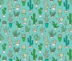 Cactus cacti garden botanical succulent green garden pattern blue illustration print large fabric by littlesmilemakers on Spoonflower - custom fabric
