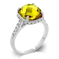 Chynna's Citrine Yellow Cushion Cut Solitaire Ring