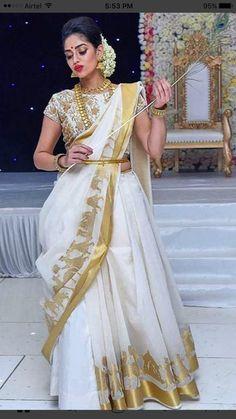 Indian Bridal Fashion, Indian Wedding Outfits, Indian Outfits, Saree Draping Styles, Saree Styles, Bridal Lehenga, Saree Wedding, Kerala Engagement Dress, New Baby Dress