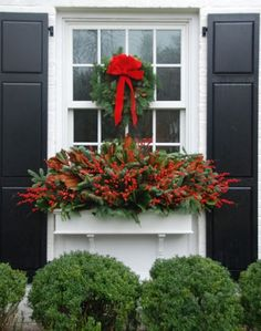 Such a beautiful window box idea for Christmas or just winter in general. If you are in need of wooden window boxes please check us out at www.coopersmithandson.com so we can assist your gardening masterpieces