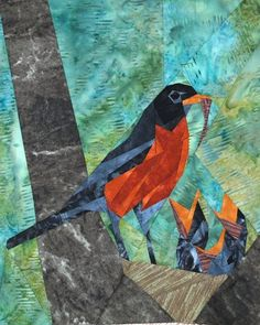 Wee Robin's Nest quilt Pattern by Silver Linings Paper Pieced Quilt Patterns, Quilt Block Patterns, Small Quilts, Mini Quilts, Scrappy Quilts, Vogel Quilt, Bird Quilt Blocks, Miniature Quilts, Animal Quilts