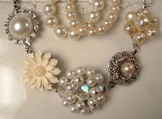 Custom Vintage Shades of Ivory & Cream Pearl and Rhinestone Bracelet, OOAK Heirloom Cluster Earring Bracelet
