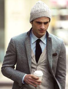 cardigan + tie + beanie