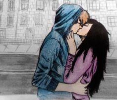 art, couple, cute, drawing, kiss, together - image #85295 on Favim.com