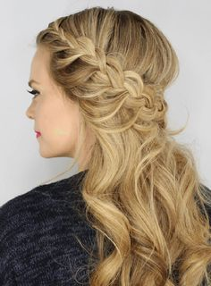 If you want to add a bohemian vibe to your half-up, half-down curly prom hairstyle, this look is perfect for you. By combining three kinds of braids—one regular, one fishtail, and one lace braid—Missy Sue creates a cascading effect that adds some serious panache to your 'do.