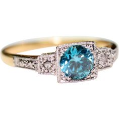 Vintage English Art Deco 18 carat gold Platinum Blue Zircon and Diamond ring