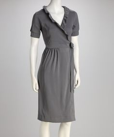 I just picked this up!   Take a look at this Gray Amethyst Ruffle Faux Wrap Dress by Shabby Apple on @zulily today!