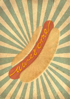 retro hot dog sign