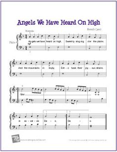 Free Sheet Music | Angels We Have Heard On High for Easy P… | Flickr