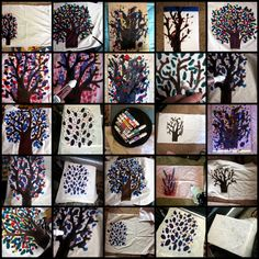 A Project Collage of painted tree pillowcases made with Tee Juice markers