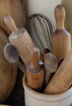 "rolling pins and wooden spoons...for my daughter's wedding gift I gave her ""something old"" -- her grandmother's rolling pin which she grew up with, especially baking Christmas cookies and home made bread."