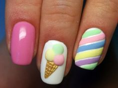 Want some ideas for wedding nail polish designs? This article is a collection of our favorite nail polish designs for your special day. Girls Nail Designs, Gel Nail Art Designs, Little Girl Nails, Girls Nails, Nail Art For Kids, Cute Acrylic Nails, Pastel Nail Art, Colorful Nail, Dream Nails