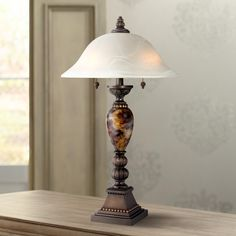Amor Collection Glass Shade Accent Table Lamp In Bronze R9411