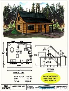 Drawing C0276B 16' 9'' X 17' Cabin Loft 11'5 276sqft