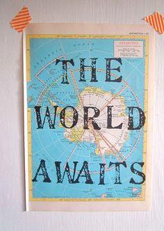 The World Awaits Vintage Map Unique Print Handmade by OpusandVerse, $14.50
