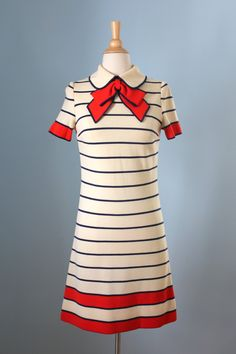 1960s wool dress / 60s mod striped dress / Francesca by LivedIn, $146.00