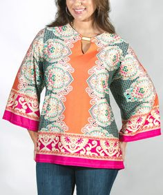 This Coral & Fuchsia Arabesque Bell-Sleeve Tunic - Plus is perfect! #zulilyfinds