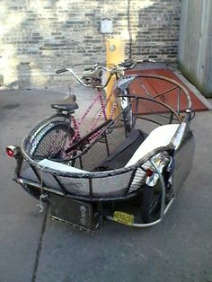 bike with sidecar Bike With Sidecar, Bike Cart, Tricycle Bike, Diy Go Kart, Push Bikes, Bike Trailer, Cargo Bike, Electric Bicycle, Bicycle Design