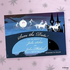 Magical Night Save the Date Magnet fairy tale wedding ideas This save the date magnet with a Cinderella theme will act as a constant reminder for friends and family that your fairy-tale ending is coming up. Cinderella's white carriage and horses are featured crossing the bridge on their way to the castle with your wording printed below.