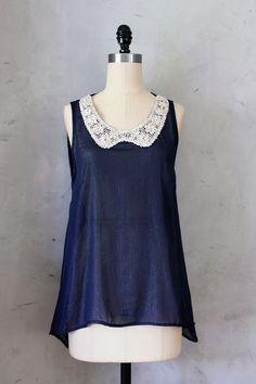 Glitter Collars - Shimmering navy tank top with sequin collar //