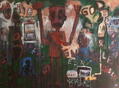 Aboudia The God 2011 Acrylic and mixed media on canvas Saatchi Gallery, Painting Collage, Paintings, Galleries In London, Ivory Coast, Outsider Art, Mixed Media Canvas, New Art, Eye Candy