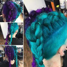 Had fabulous fun creating this fabulous look for this fabulous young lady 💜. Had fabulous fun crea Turquoise Hair, Purple Hair, Indoor Garden, Young Women, Braided Hairstyles, Hair Inspiration, Braids, Hair Color, Dreadlocks