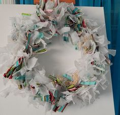 Repurposed Rag Wreath From Old Shirts and Curtains | Hometalk