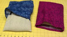 """Buckwheat Heat Packs:    * Cut flannel fabric (outer):  14"""" wide x 30"""" long     *Cut Osnaburg fabric (inner):  12"""" W x 28"""" L     *Sew inner pouch with 2-3"""" opening to reverse and put Buckwheat in then sew shut.  Outer pouch has hemmed edge like a pillow case.    Fill inner pouch with Buckwheat to liking ~ 6 cups     When done,  microwave ~ 2"""" 30 sec for square.    Holds moist heat for some time! Feels so good on the aches!"""