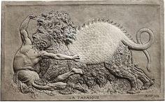 Bas relief du sculpteur fr:Jean Barnabé Amy représentant la tarasque.