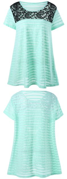 $12.51 Plus Size Lace Insert Striped T-Shirt