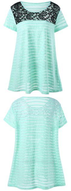 $12.51 Plus Size Lace Insert Striped T-Shirt