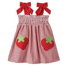 Rare Editions Strawberry Seersucker Plaid Smocked Dress - Baby Girl