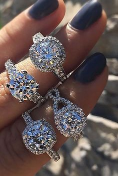 Halo Engagement Rings Or How To Get More Bling For Your Money ❤ See more: http://www.weddingforward.com/halo-engagement-rings/ #weddings#engagement rings