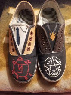 Supernatural Shoes by ShowShoes on Etsy, $31.00 ....Destiel....shoes?????