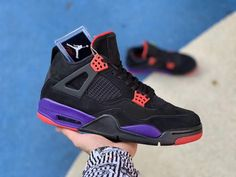 separation shoes 6feda 65ead air jordan retro 4 raptors black purple shoes for sale aq3816-065 detail  pic -