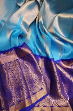 Discover thousands of images about Blue Handloom Kanjeevaram Pure Silk Saree With Big Border