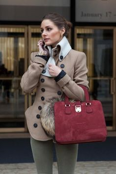 Red purse and light brown jacket style for ladies
