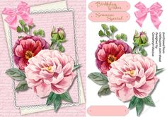 A lovely A5  card with beautiful Pink  roses on a script mat has two greeting tags and a blank one