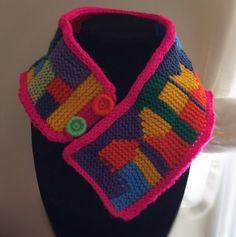 Crochet  statement neck warmer bright and colorful by FiBreRomance