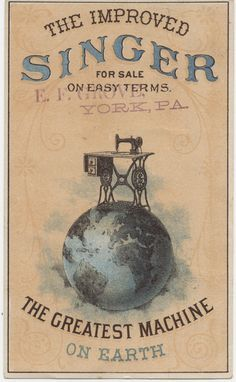 Victorian trade card for Singer Sewing Machine, late 1880s