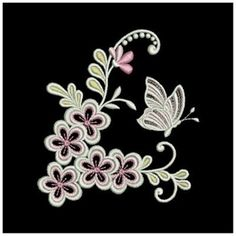 Swirly Butterfly Flowers embroidery design