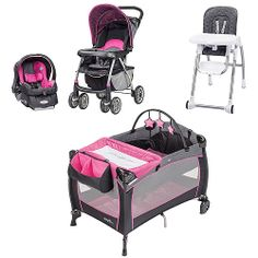 Evenflo Pink Party Koi With 10 Off Coordinating Pieces Carseat Baby Girl Strollers