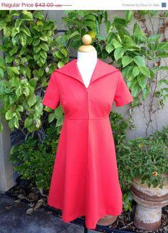 50% OFF A vintage 1960s orange red mod retro empire waist sailor collar mini dress size M