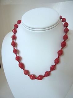 Red Paper Bead Necklace 1950s by BonniesVintageAttic on Etsy, $14.95